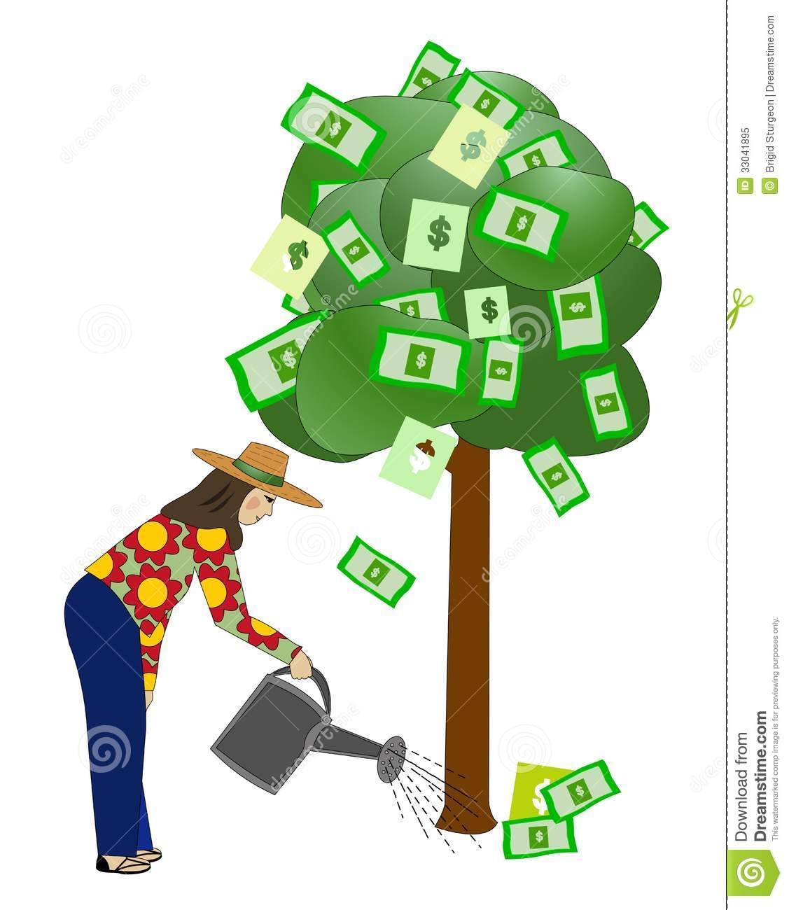 Watering money tree clipart.
