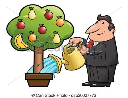 Vectors Illustration of Watering the fruit tree.