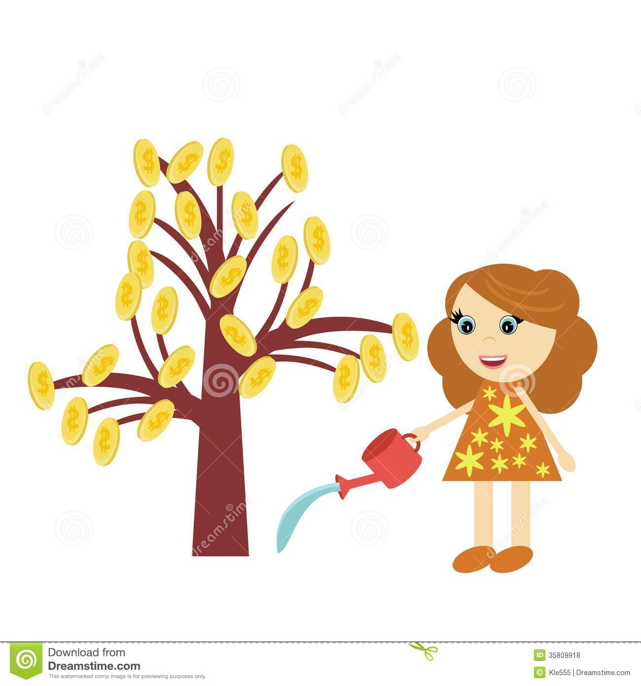 Watering a tree clipart.