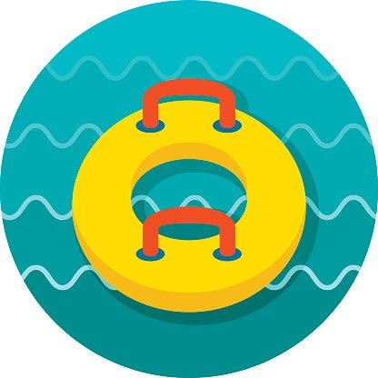 Towable Water Tube. Inflatble Boat icon. Vacation Clipart.