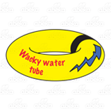 Wacky Water Tube, yellow with words and a black stripe.