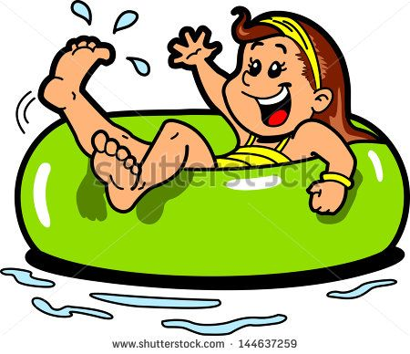 Happy Girl Floating on the Water in an Inner Tube Flotation.