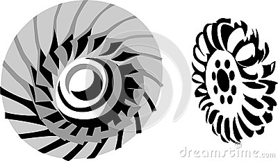 Black And Orange Gear Wheel With Water Drops Stock Vector.