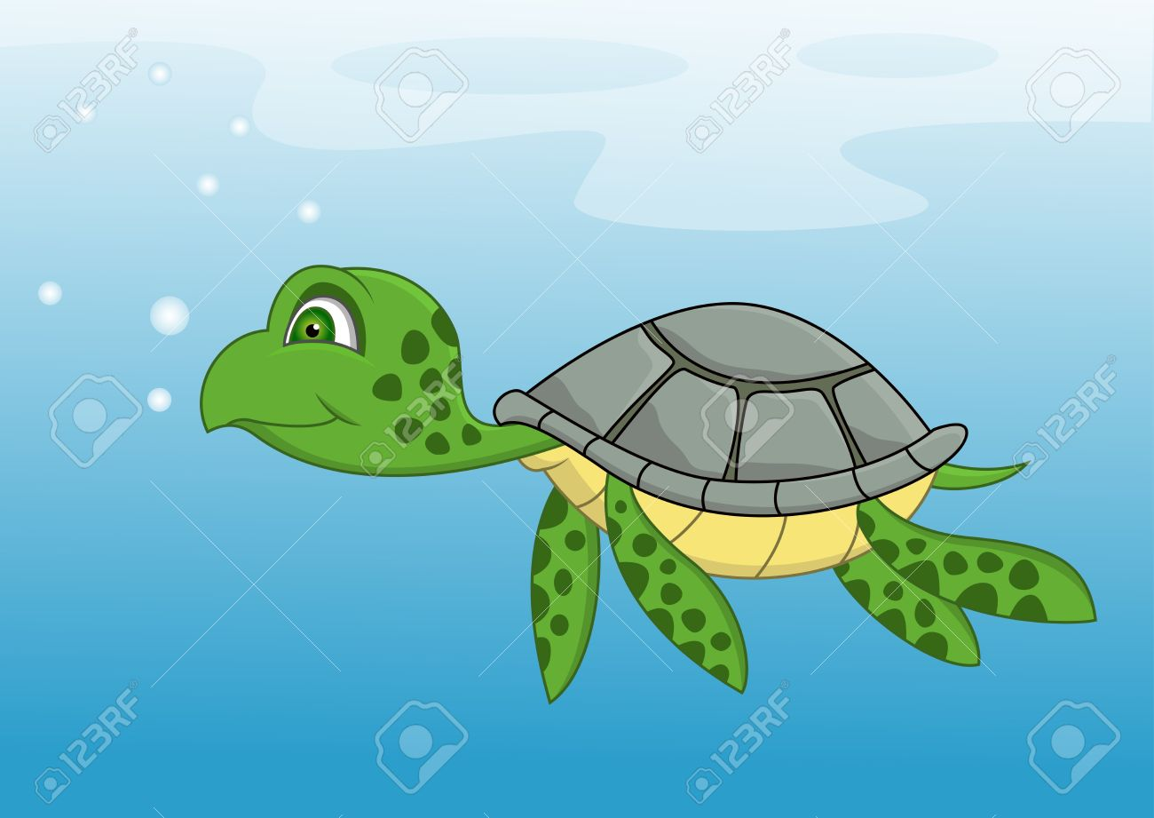 Turtle In Water Clipart.