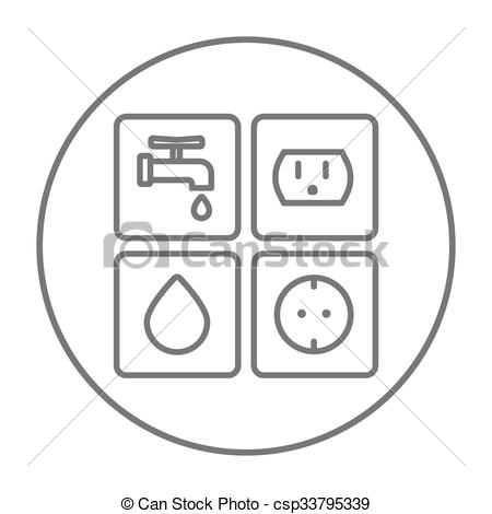Vectors of Utilities signs electricity and water line icon.