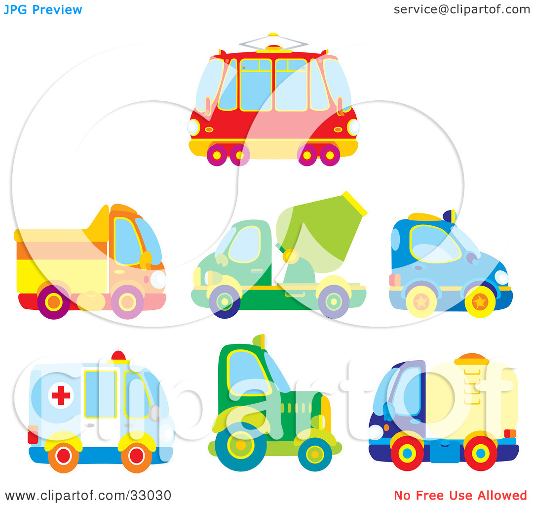 Clipart Illustration of a Bus, Dump Truck, Cement Truck, Police.