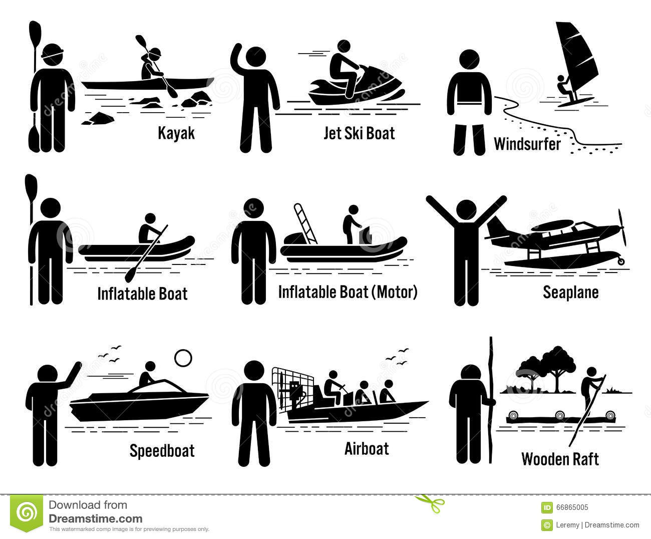 Water Sea Transportation Vehicles And People Set Clipart Stock.
