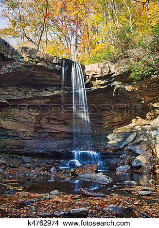 Stock Photo of Veil of water over Cucumber Falls k4762974.