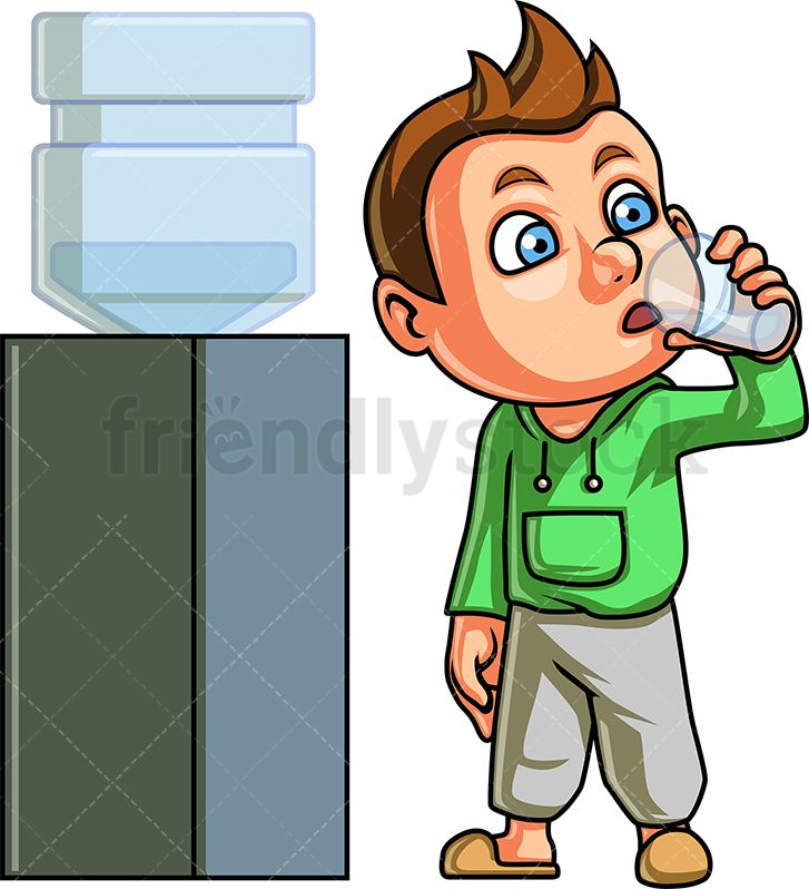Boy Drinking From Water Dispenser in 2019.