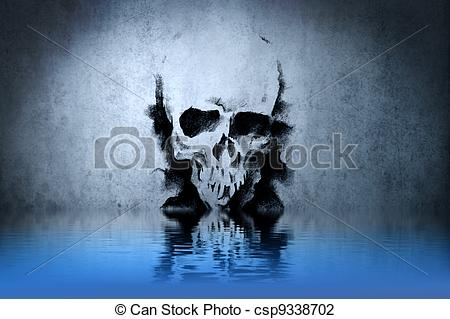 Clip Art of Warrior Skull tattoo on blue wall with water.