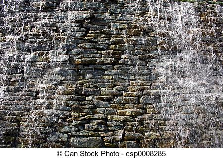 Clipart water running over rock wall.