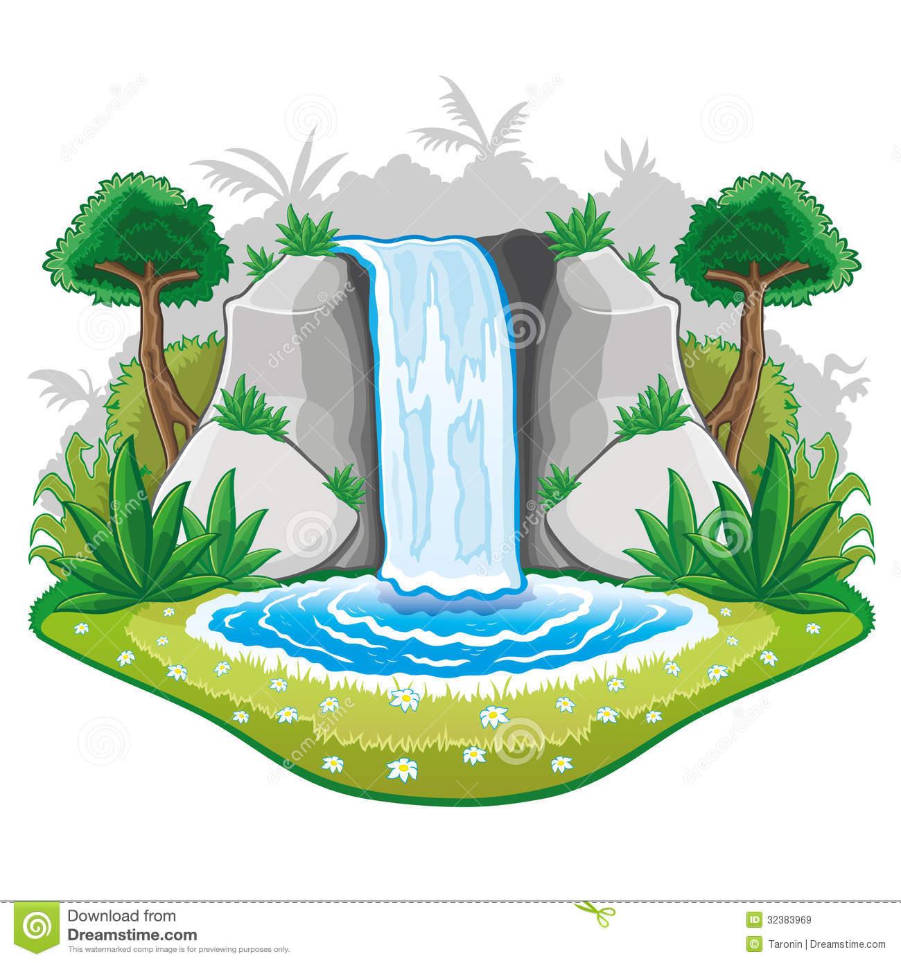 Beautiful Cartoon Waterwall. Royalty Free Stock Images.