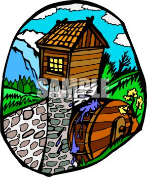 Chinese water wheel clipart.