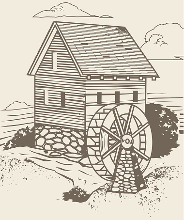Water Mill Clip Art, Vector Images & Illustrations.