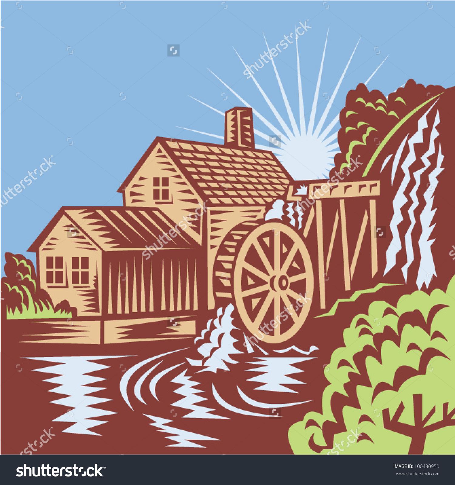 Water wheel mill clipart.