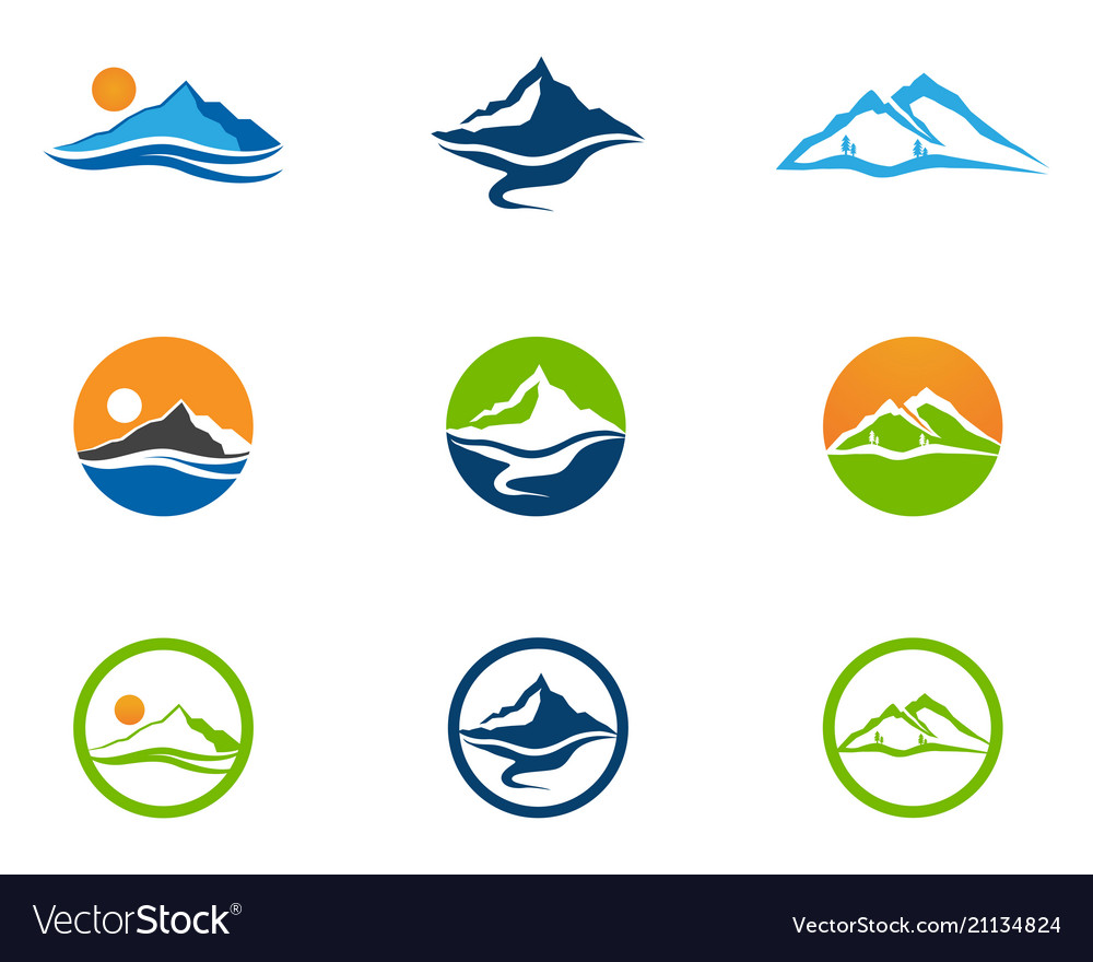 Mountain and water logo business template.