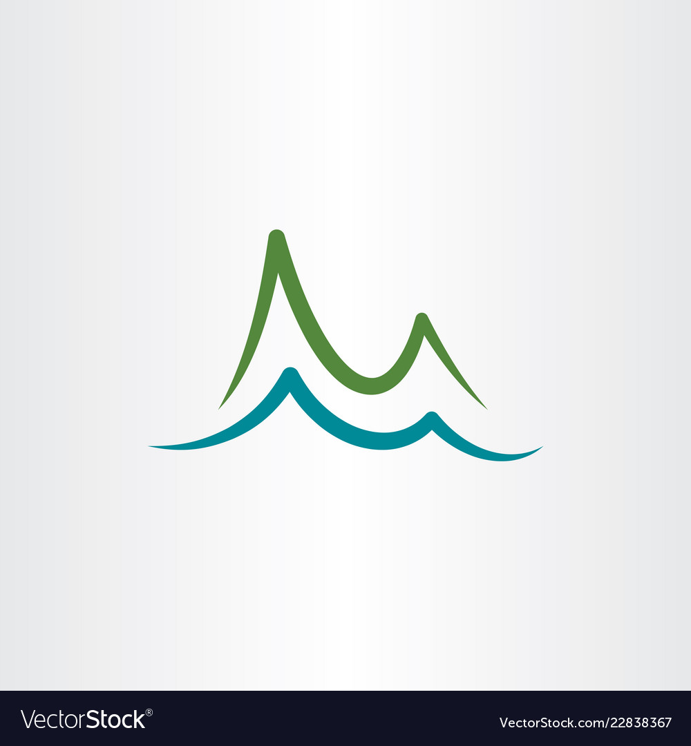 Mountain and lake water simple logo icon.