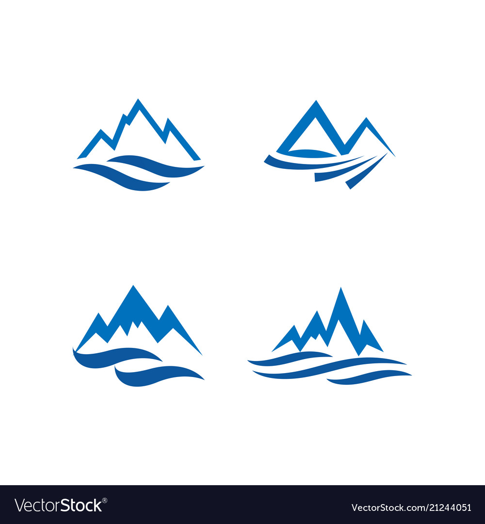 Mountain and water logo icon design template.