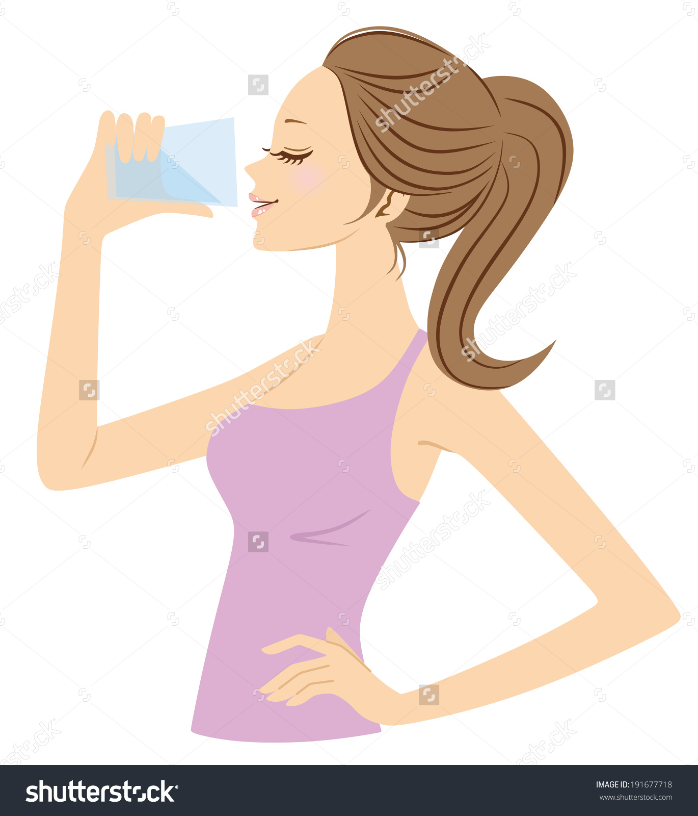 Women Who Drink Water Stock Vector 191677718.