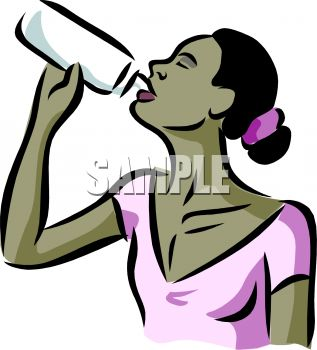 Woman drinking water clipart.