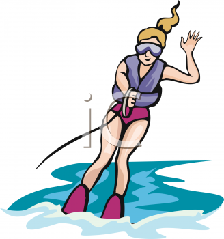 Clip Art Illustration of a Woman Water Skiing With One Hand and.