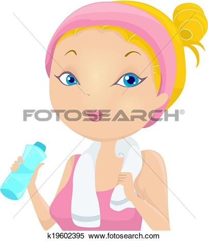 Clipart of Pregnant Woman Drinking Bottled Water k10708820.