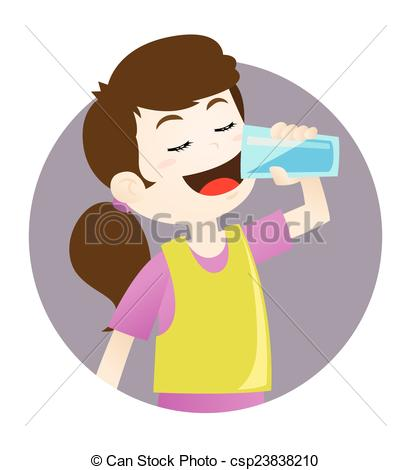Vector Clip Art of Girl drinking water.