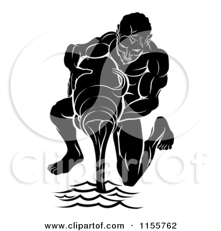 Clipart of a Black and White Horoscope Zodiac Astrology Aquarius.