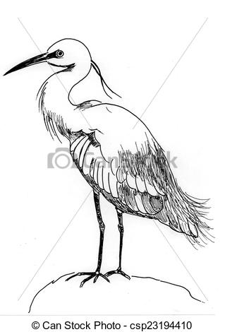Clipart of illustration water bird on paper csp23194410.