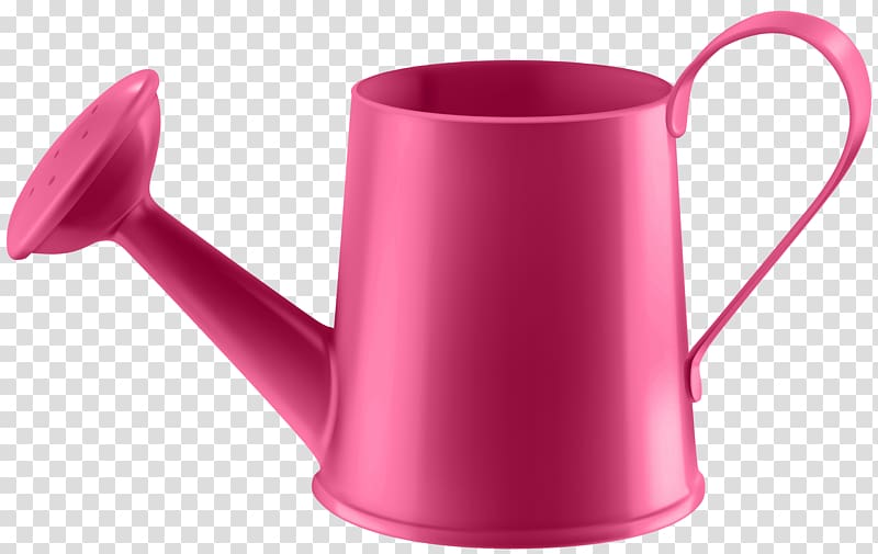 Pink watering can , Red Water Can transparent background PNG.