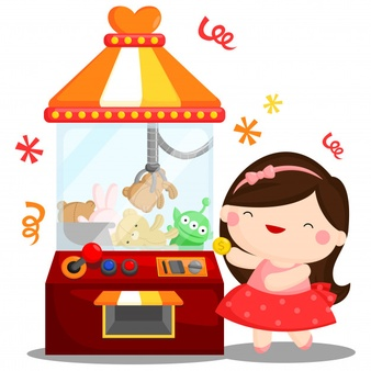 Arcade game machine with dolls illustration Vector.