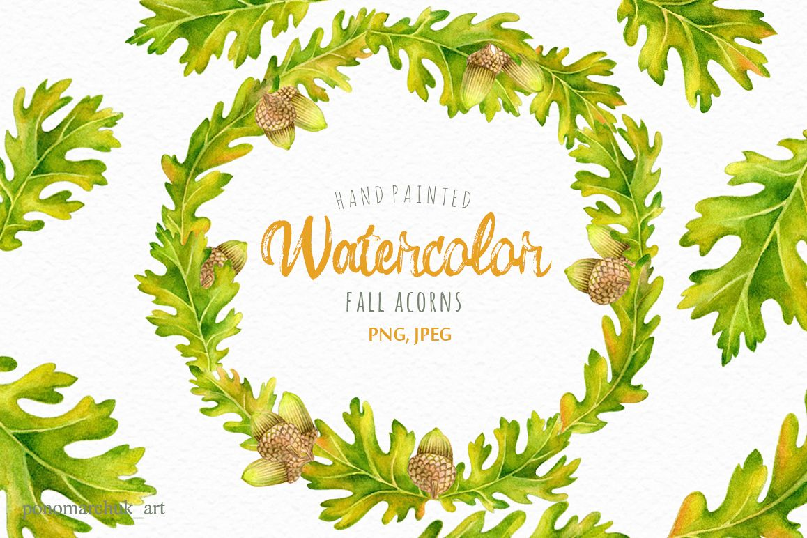 Watercolor Fall acorns collection.