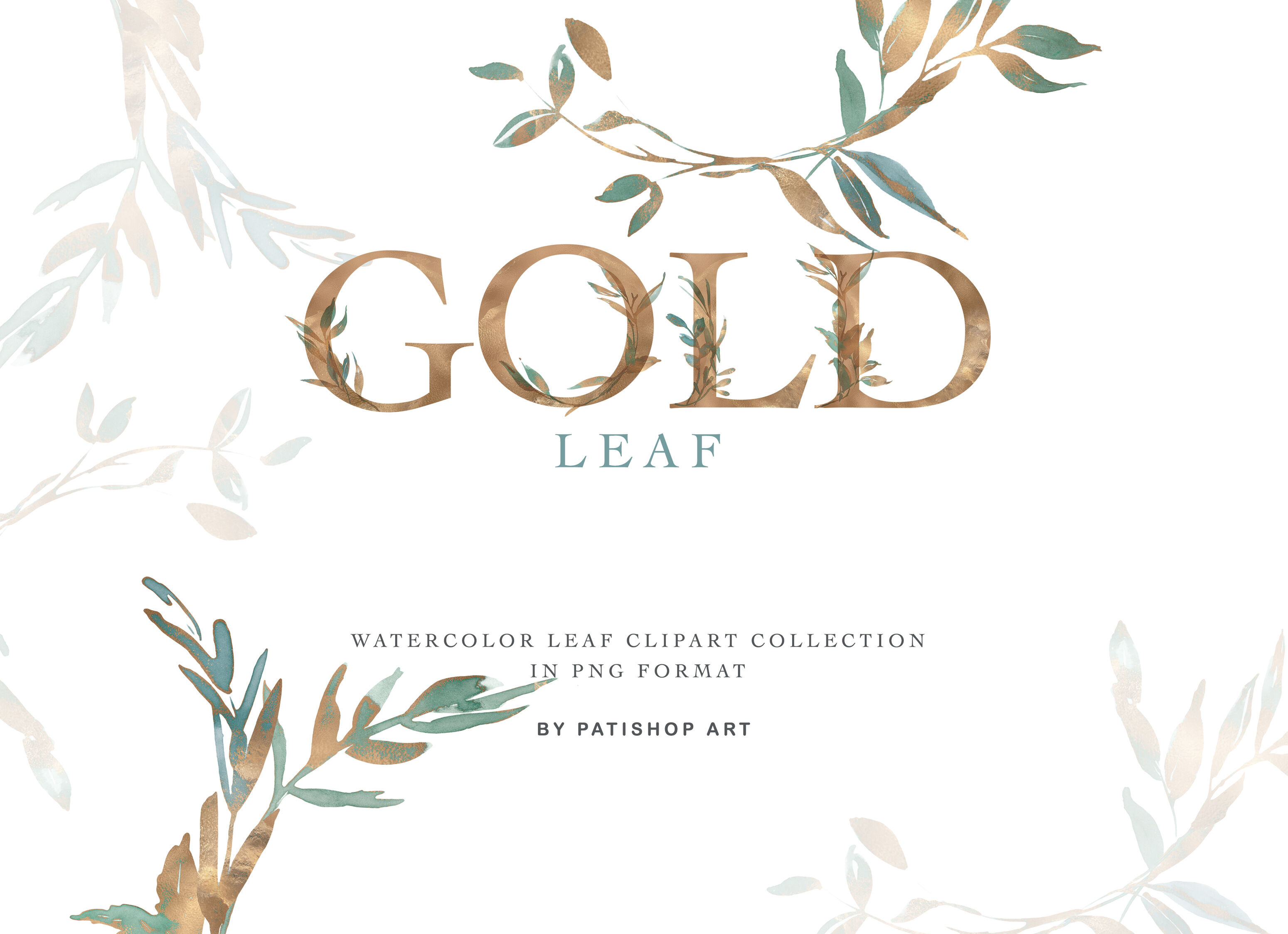 Gold Leaf Watercolor Clipart & Alphabet By Patishop Art.