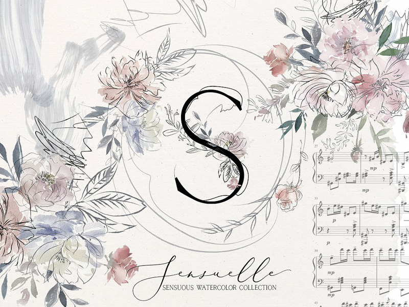 Sensuale Watercolor Floral Clipart by Graphic Assets on Dribbble.