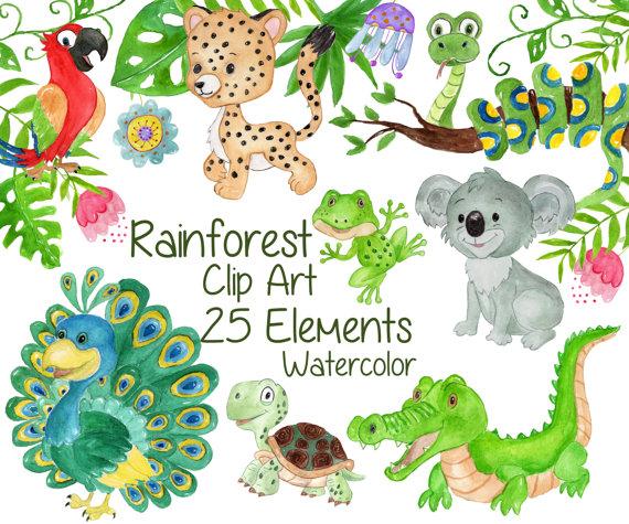 SALE40% Watercolor animals clipart: