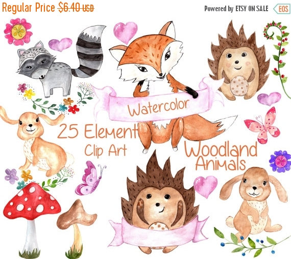 SALE40% Forest animals clip art: WATERCOLOR ANIMAL.