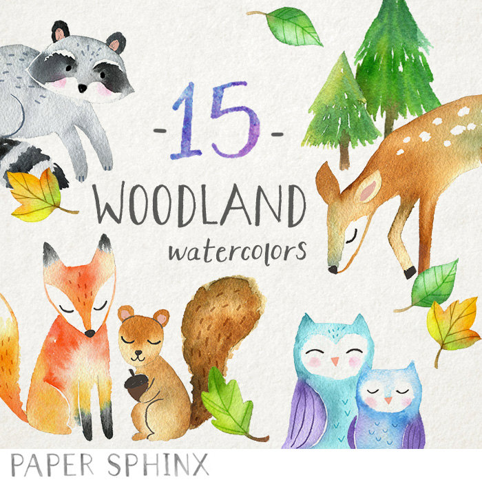 Woodland Animals Clipart Watercolor Forest Animals Clip Art.