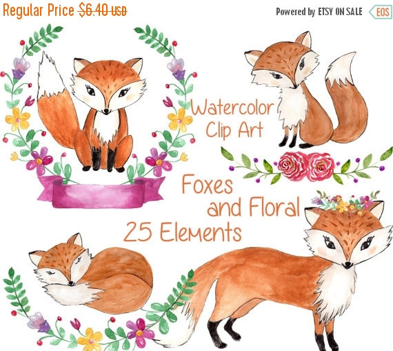 SALE40% Watercolor woodland animals clipart: FOREST.