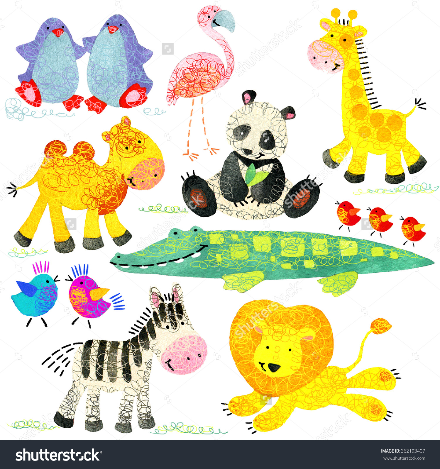 Watercolor Zoo Animals Set Cartoon Wild Stock Illustration.