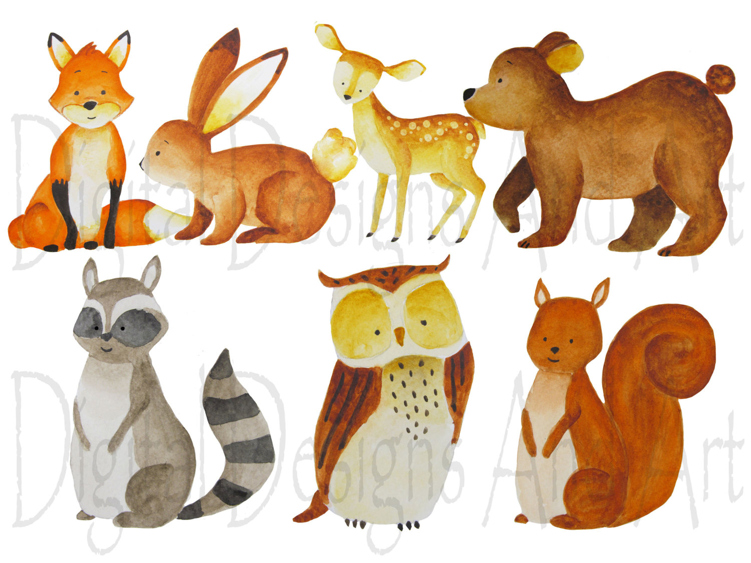 Watercolor forest animals clipart foxes clipart Forest.