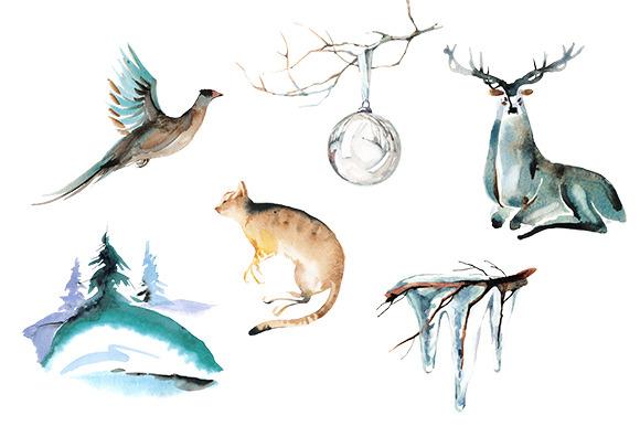 Watercolor Animal Clipart.
