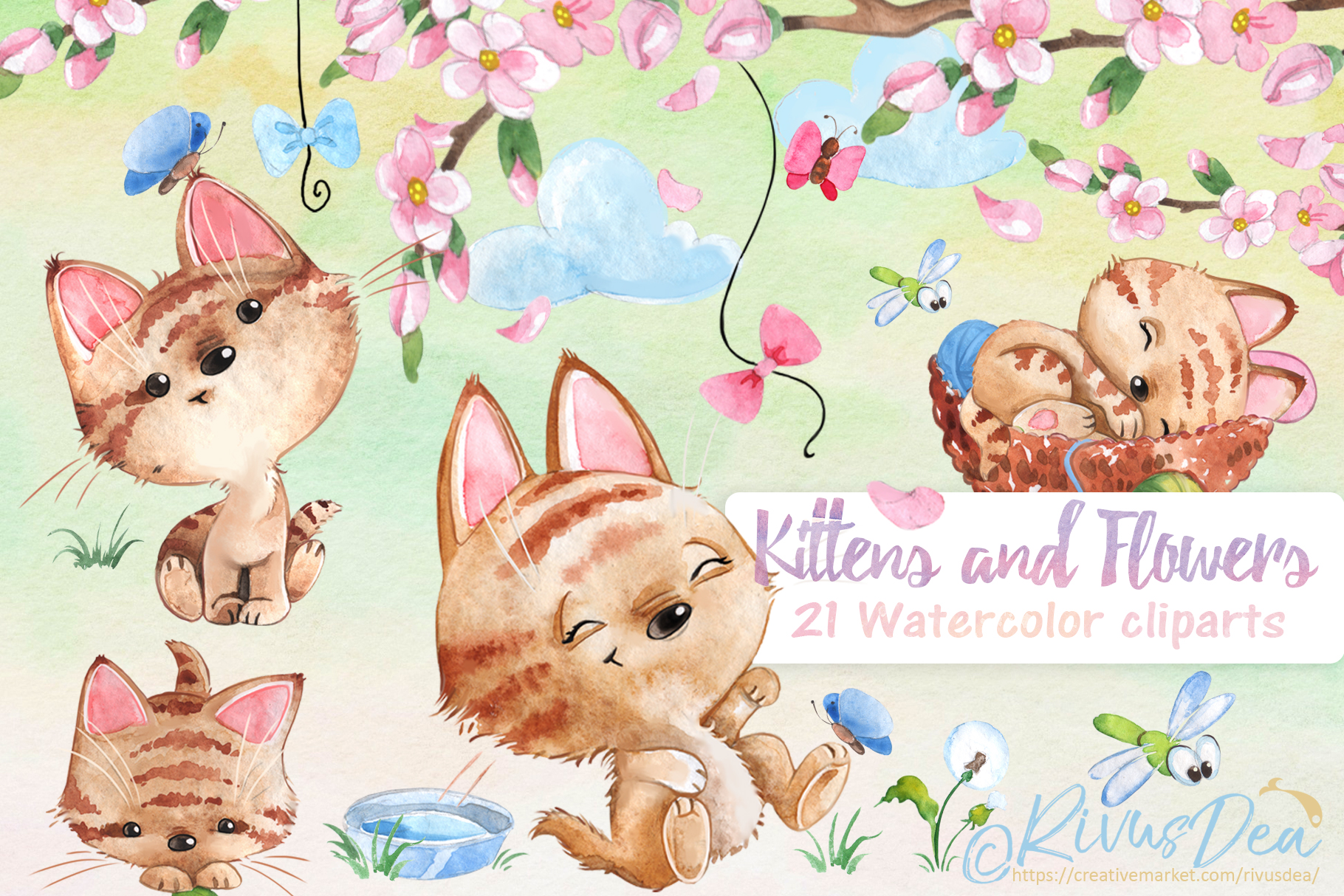 Watercolor animals clipart set.