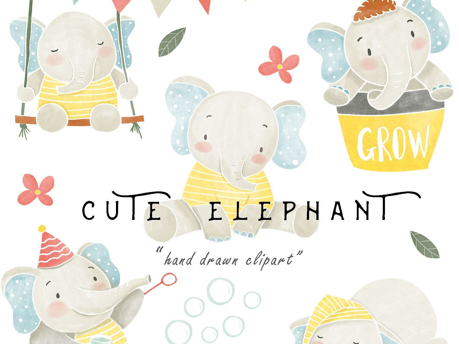 Watercolor Baby Elephant Clipart PNG Boy Girl Digital.