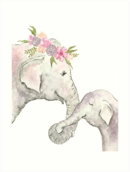 \'Elephant mother and baby watercolor\' Art Print by christierenfro.
