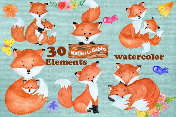 Watercolor Fox clipart.