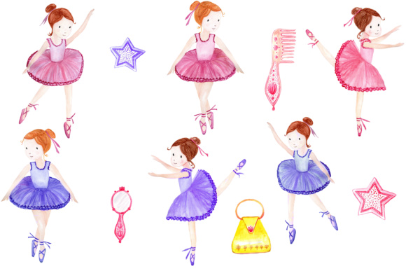 Watercolor ballerina clipart.