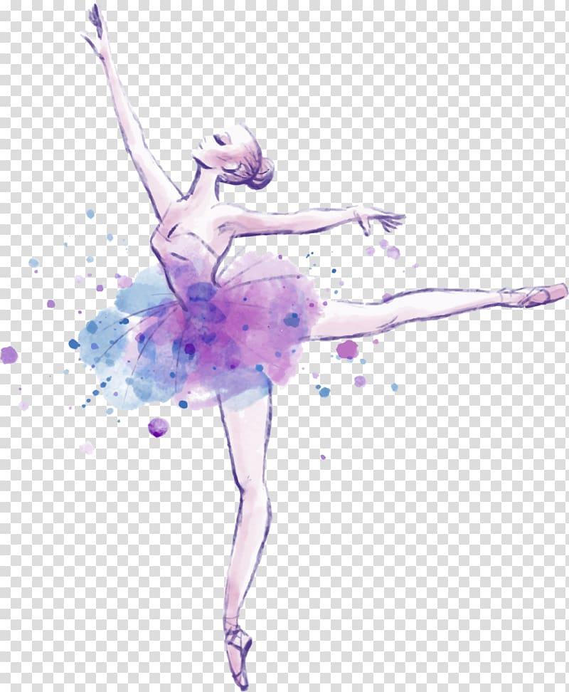 Ballerina illustartion, Ballet Dancer Drawing Watercolor.