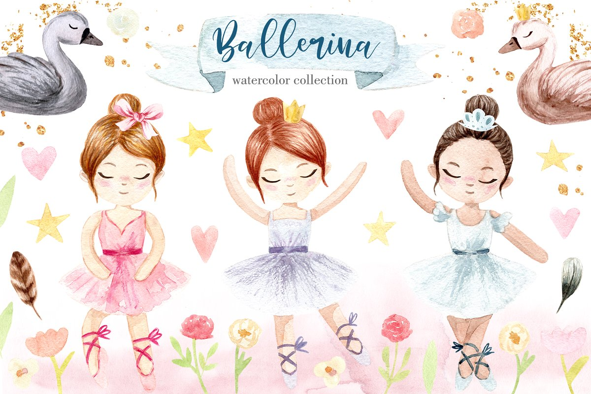 Watercolor Little Ballerina. Pattens ~ Graphic Objects.