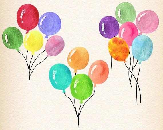 Watercolor balloons, watercolour balloon clipart, birthday.