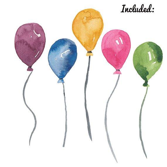 Watercolor Balloon clipart birthday party clip art Balloons.